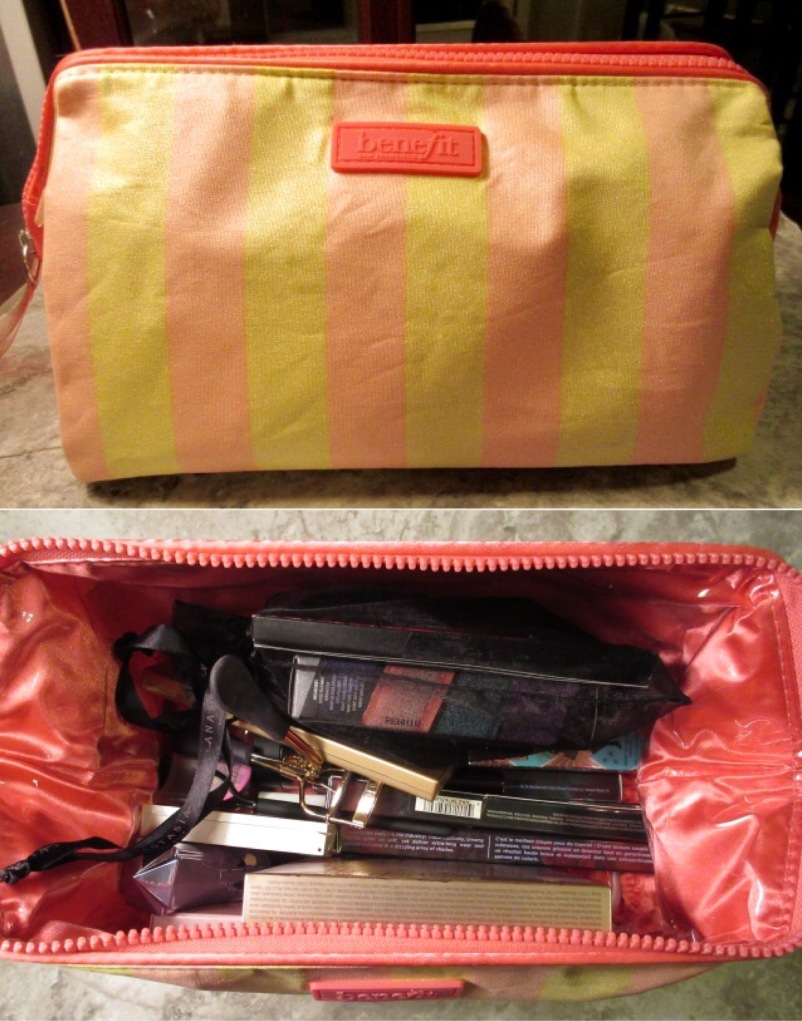 Makeup bag+urban decay+benefit cosmetics+NYX+ABH+Stila+SmashBox+concealer+eyeliner+mascara+GIMME brow+watt's up+eyeshadow+lipstick+lipgloss+lip topcoat