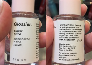 Glossier+super pure+review+skincare+acne+skin balancing