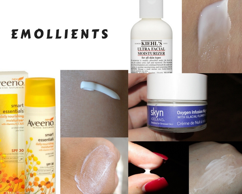 Moisturizers: humectants. occlusive agents. emollients. Khiels aveeno Skyn Iceland night cream smooth soft skin light